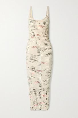 Paco Rabanne Ribbed Printed Cotton Midi Dress - Ivory
