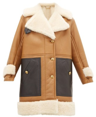 Givenchy Shearling Leather-panelled Coat - Womens - Camel