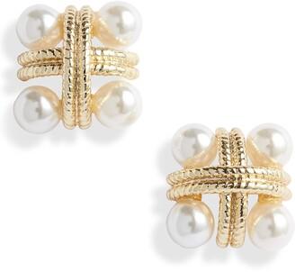Sterling Forever Rope & Imitation Pearl Stud Earrings