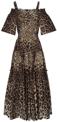 Dolce & Gabbana Leopard-print cotton midi dress