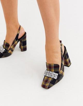 ASOS DESIGN Peggy square toe embellished loafer heels in check