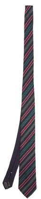 Missoni Logo Jacquard Striped Silk Tie - Mens - Blue Multi