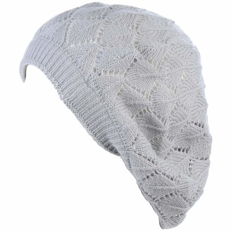 Be Your Own Style BYOS Chic Soft Knit Airy Cutout Lightweight Slouchy Crochet Beret Beanie Hat - grey - One Size