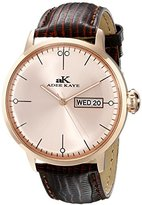 Adee Kaye Men's AK2226-MRG-RG Vintage Stainless Steel Watch With Brown Faux-Leather Band