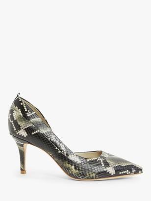 Boden Sophia Leather Mid Heel Court Shoes, Multi Snakeprint