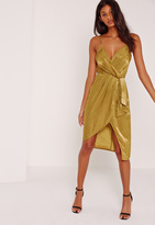 Missguided Silky Strappy Wrap Over Midi Dress Yellow