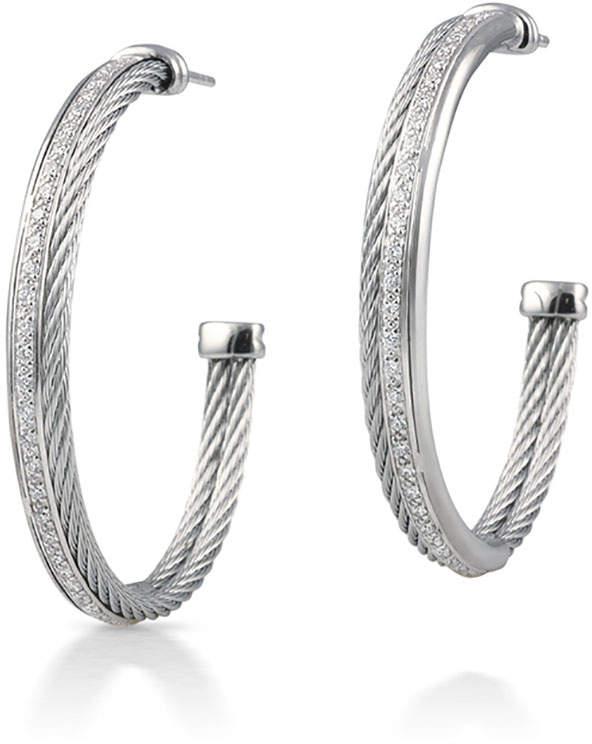 Alor 18k Cable & Diamond Pave Hoop Earrings