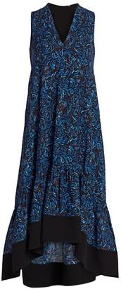 3.1 Phillip Lim Floral Flounce Hem Midi Dress