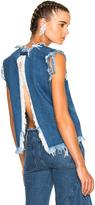 Marques Almeida Marques ' Almeida Sleeveless Crew Neck Top in Blue.