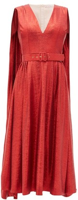 Emilia Wickstead Farrell Caped Lame Dress - Red