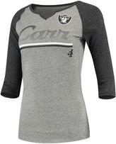 Outerstuff Women's Juniors Derek Carr Heathered Gray/Black Oakland Raiders Over the Line Player Name & Number Tri-Blend 3/4-Sleeve V-Notch T-Shirt