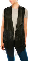 Elie Tahari Betsy Layered Leather & Silk Vest