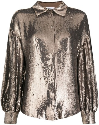 P.A.R.O.S.H. Sequined Draped-Sleeve Blouse