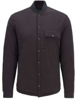 HUGO BOSS - Relaxed Fit Overshirt In Padded Stretch Fabric - Black