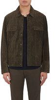 Vince Men's Suede Shirt Jacket-Dark brown, Dark green