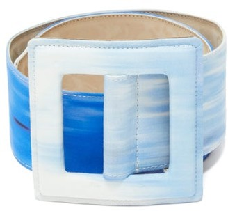 Carolina Herrera Square-buckle Abstract-print Canvas Belt - Womens - Blue White