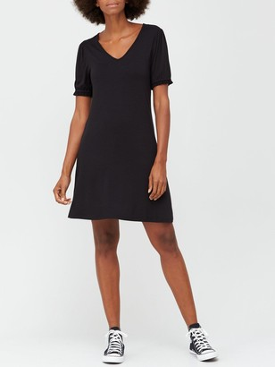Very V-neck Fit & Flare Jersey Mini Dress - Black