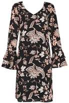 Wallis Black Paisley Print Flute Sleeve Shift Dress