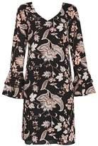 Wallis Black Paisley Print Flute Sleeve Shift Dress