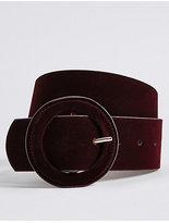 M&S Collection Velvet Round Buckle Belt