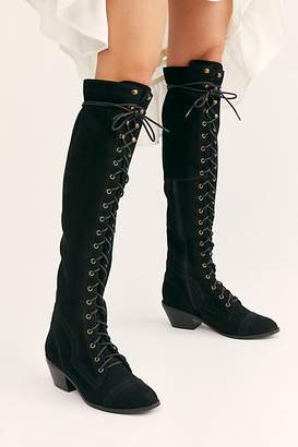 Jeffrey Campbell Joe Lace-Up Over-the-Knee Boots by at Free People, Black Pebble Nubuck, US 7.5
