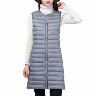 Zengbang Women Mid-Long Sleeveless Warm Gilet Outwear Single-Breasted Parka Vest Jacket Coat