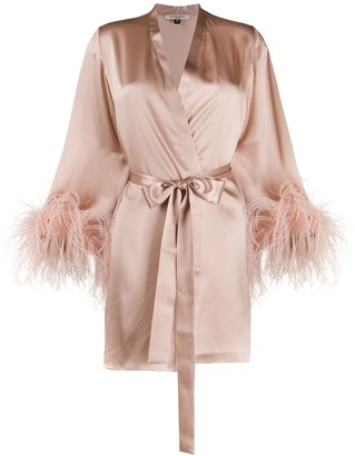 Gilda & Pearl Feather-Cuff Dressing Gown