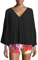 Trina Turk Long-Sleeve Pleated Chiffon V-Neck Top, Black