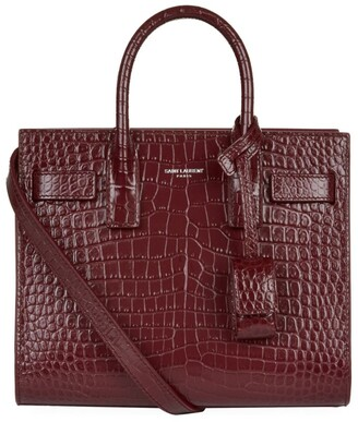Saint Laurent Baby Sac De Jour Croc-embossed Tote Bag
