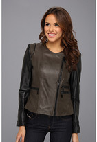Vince Camuto Collarless Two-Tone Leather Moto Jacket