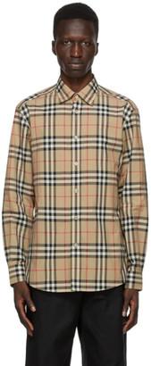 Burberry Beige Check Poplin Shirt