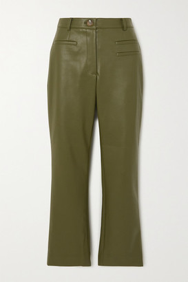 REJINA PYO Net Sustain Finley Cropped Faux Leather Slim-fit Pants - Green