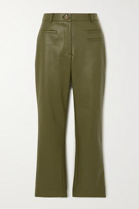REJINA PYO Net Sustain Finley Cropped Faux Leather Slim-fit Pants - Green