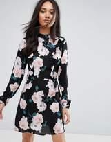 AX Paris High Neck Black Floral Mini Dress