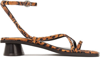 BY FAR Yumi Leopard-print Suede Sandals