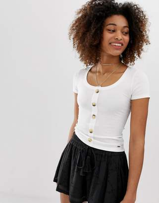 Hollister henley t-shirt with button front-White