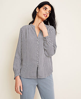 Ann Taylor Houndstooth Ruffle Cuff V-Neck Blouse