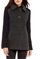 Preston & York Single Breasted Button Front Wool Colorblock Barn Coat