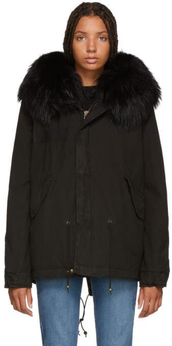 Mr & Mrs Italy Black Interior Quilt Fur Jacket