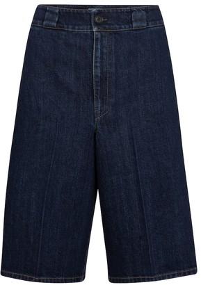 Prada High-rise denim Bermuda shorts