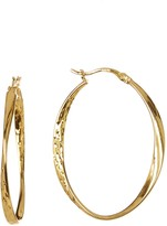 Argentovivo 18K Gold Plated Sterling Silver Faceted Twist Oval Hoop Earrings