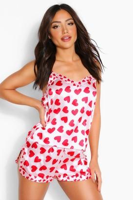 boohoo Ditsy Heart Print Cami & Short Set