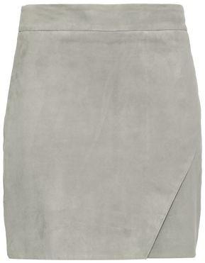 Mason by Michelle Mason Wrap-effect Eyelet-embellished Suede Mini Skirt