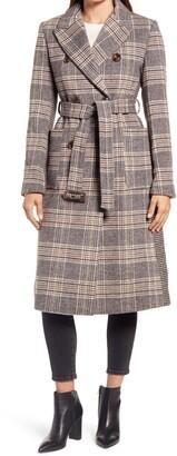 Ellen Tracy Mix Plaid Belted Wool Blend Coat