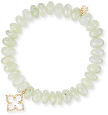 Sydney Evan 10mm Prenite Beaded Bracelet w/14K Gold Diamond Flower Charm