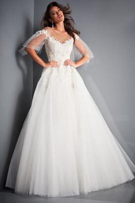 Jovani Off the Shoulder Embellished Wedding Gown