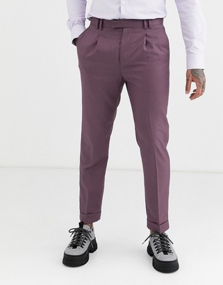 Topman skinny smart trousers with turn ups in burgundy