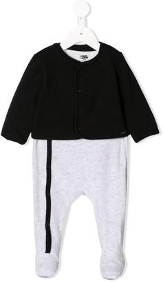 Karl Lagerfeld Paris Logo Print Pajamas With Cardigan