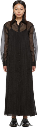 Maison Margiela Black Organza Long Shirt Dress