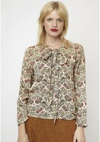 Compania Fantastica Pussy-Bow Floral Print Blouse with Long Sleeves